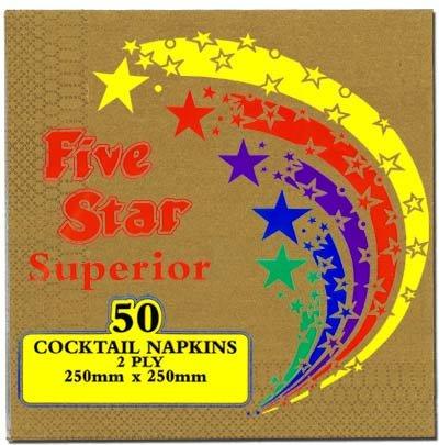 Beverage Napkins 2ply Metallic Gold