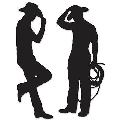 Western Cowboys Black Silhouettes Cutouts