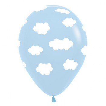Sempertex 30cm White Clouds on Fashion Light Blue Latex Balloons, 12PK