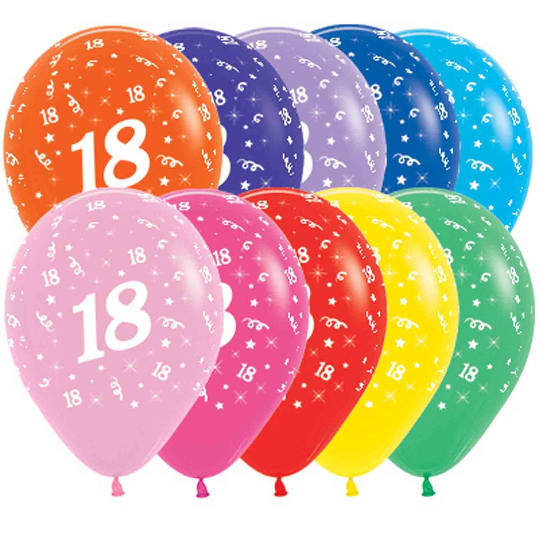 Sempertex 30cm Age 18 Fashion Assorted Latex Balloons, 25PK