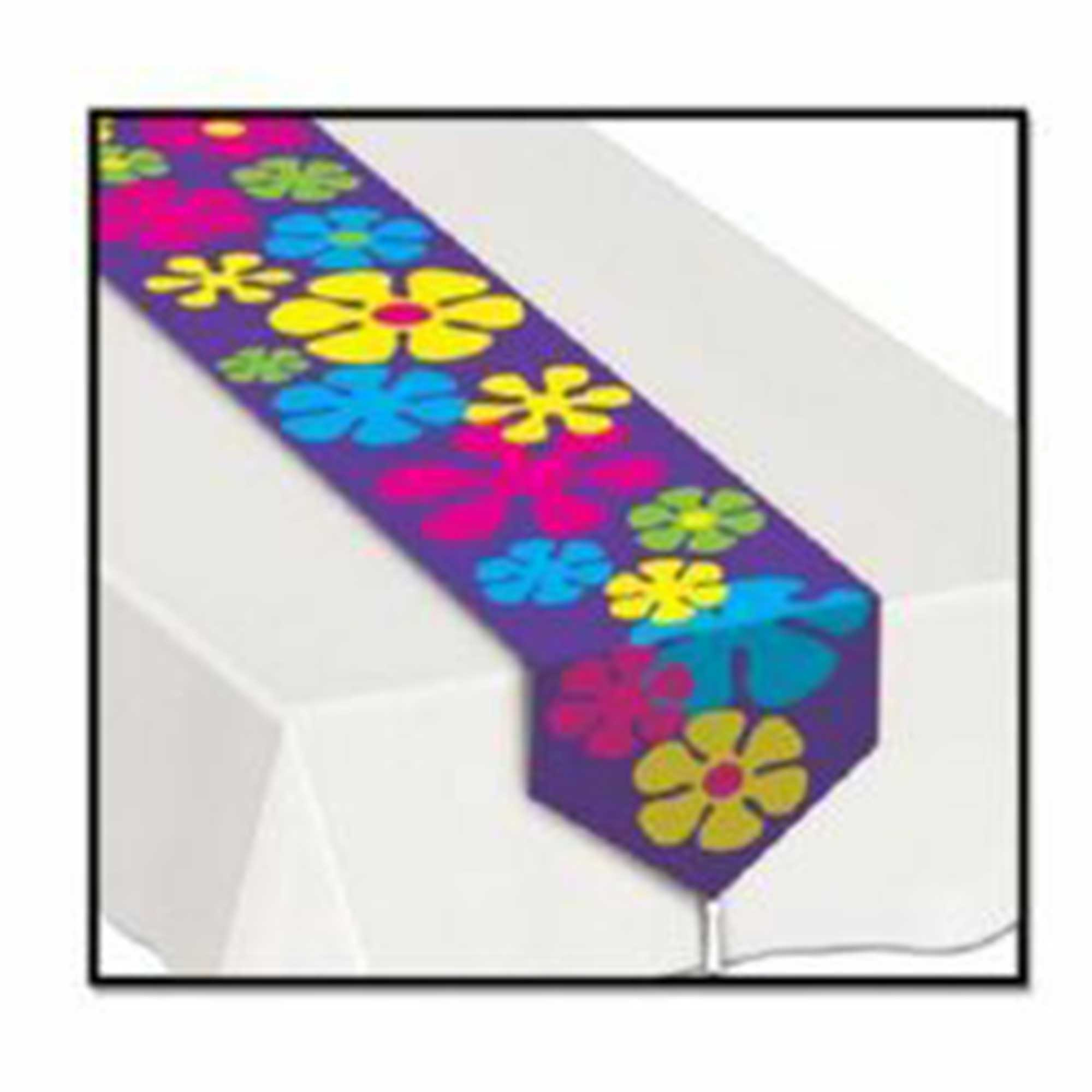 Printed Retro Flowers Table Runner