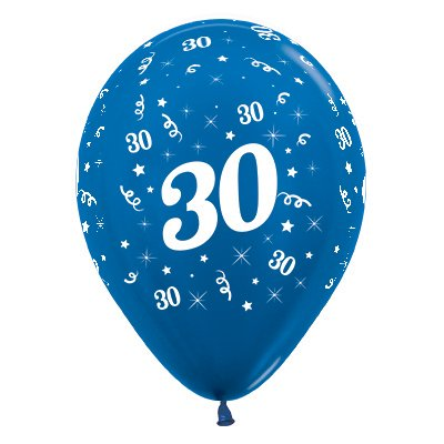 Sempertex 30cm Age 30 Metallic Blue Latex Balloons, 25PK