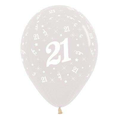 Sempertex 30cm Age 21 Crystal Clear Latex Balloons, 6PK