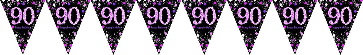 Pink Celebration 90 Prismatic Pennant Banner - Plastic