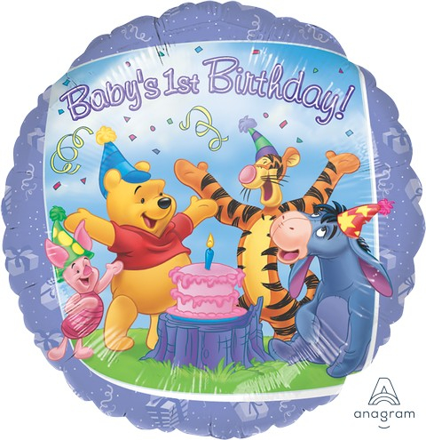 45cm Standard HX Pooh and Friends 1st Birthday S60