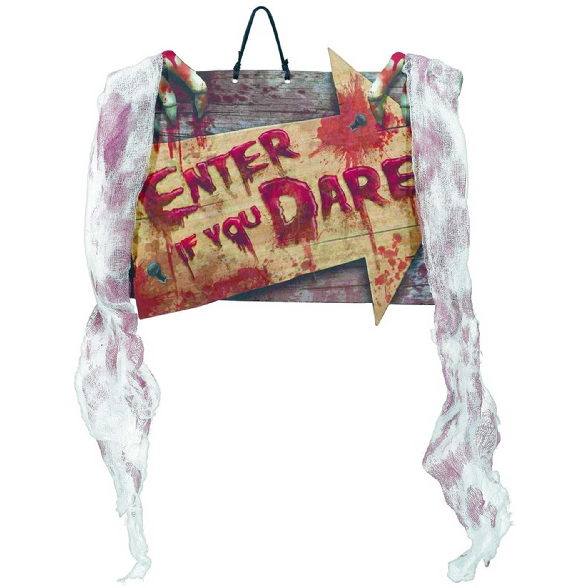 Hanging Sign with Bloody Gauze - Enter If You Dare