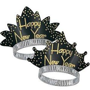 Happy New Year Sparkling Black & Gold Glittered Tiara