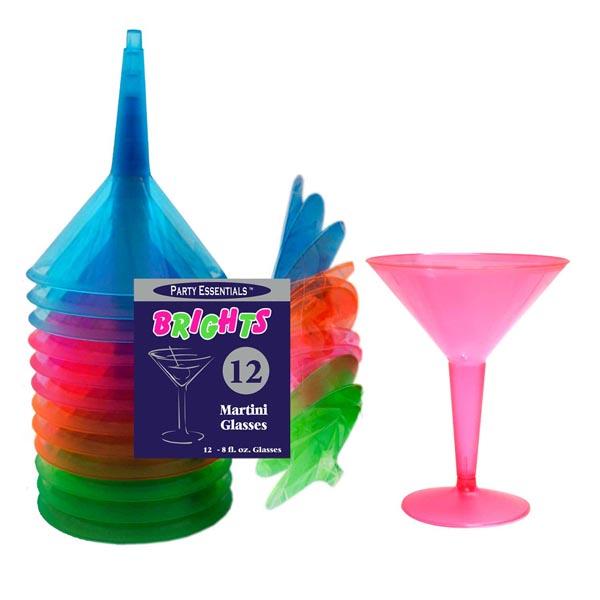 Martini Glasses Neon Assorted