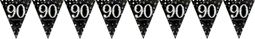 Sparkling Celebration 90 Prismatic Pennant Banner - Plastic