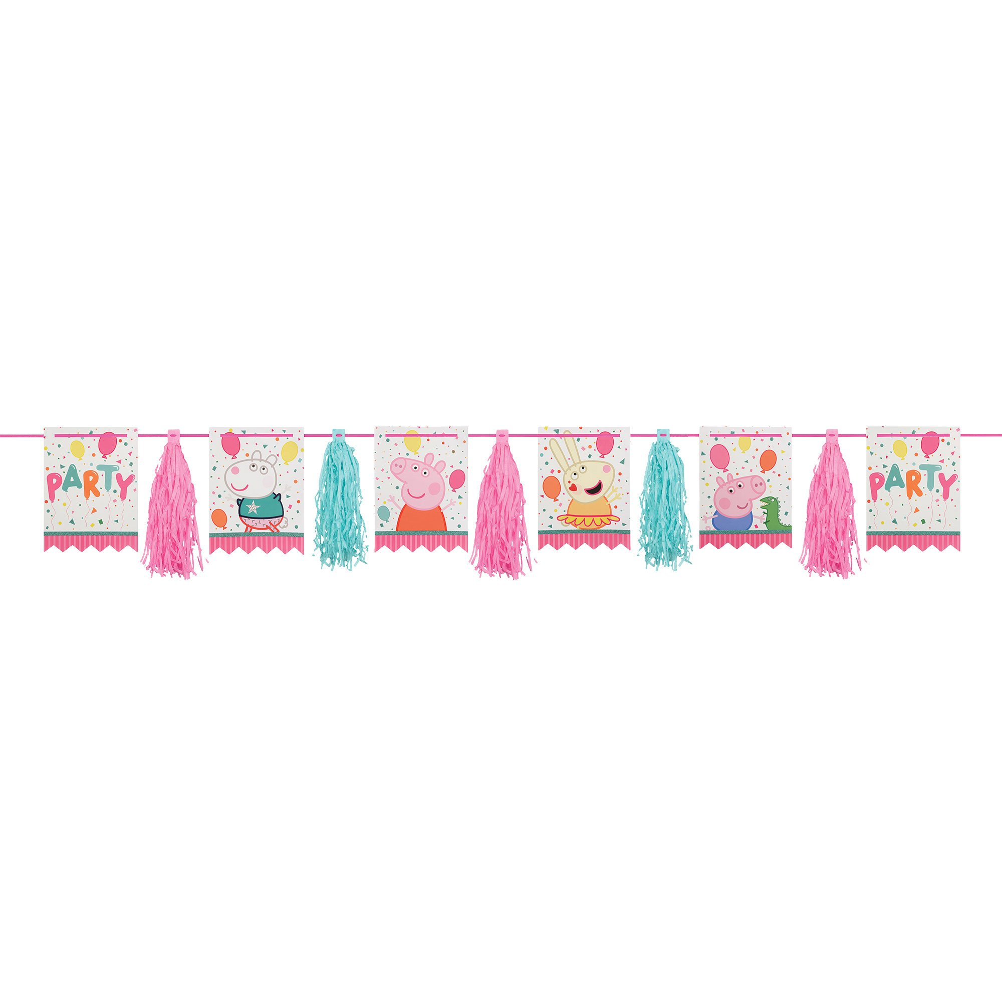 Peppa Pig Confetti Party Pennants & Tassel Garland Glittered