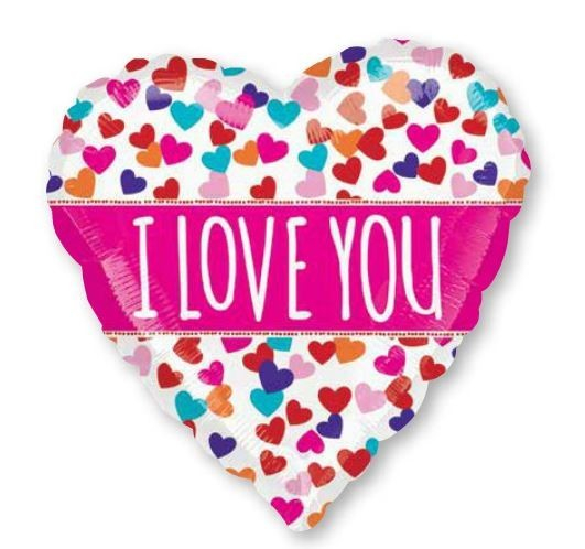 53cm ColorBlast XL Pink Banner I Love You S70