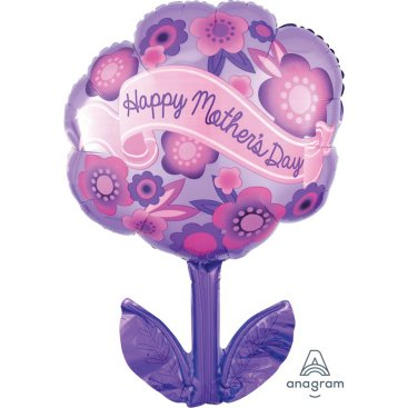 Junior Shape XL Happy Mothers Day Purple & Pink Flowers S50