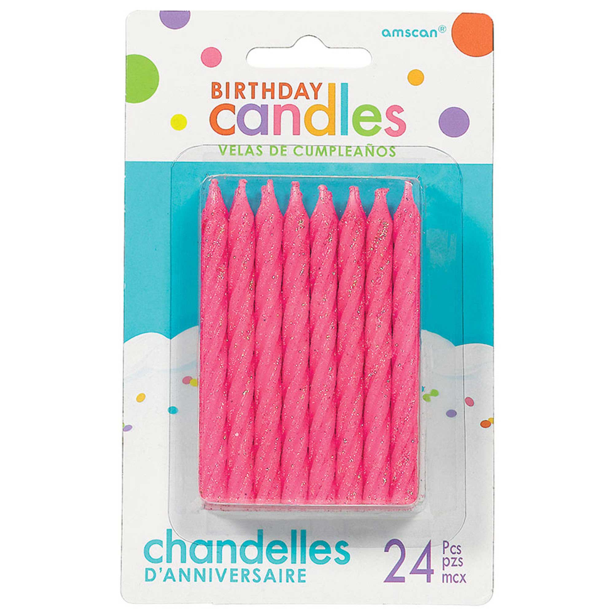 Birthday Candles Large Spiral Candle Glitter - Pink