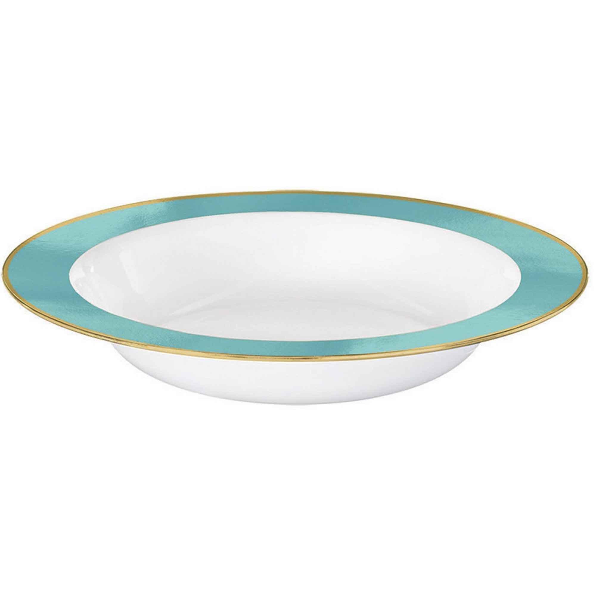 Premium Plastic Bowls 354ml White with Robin's Egg Blue Border