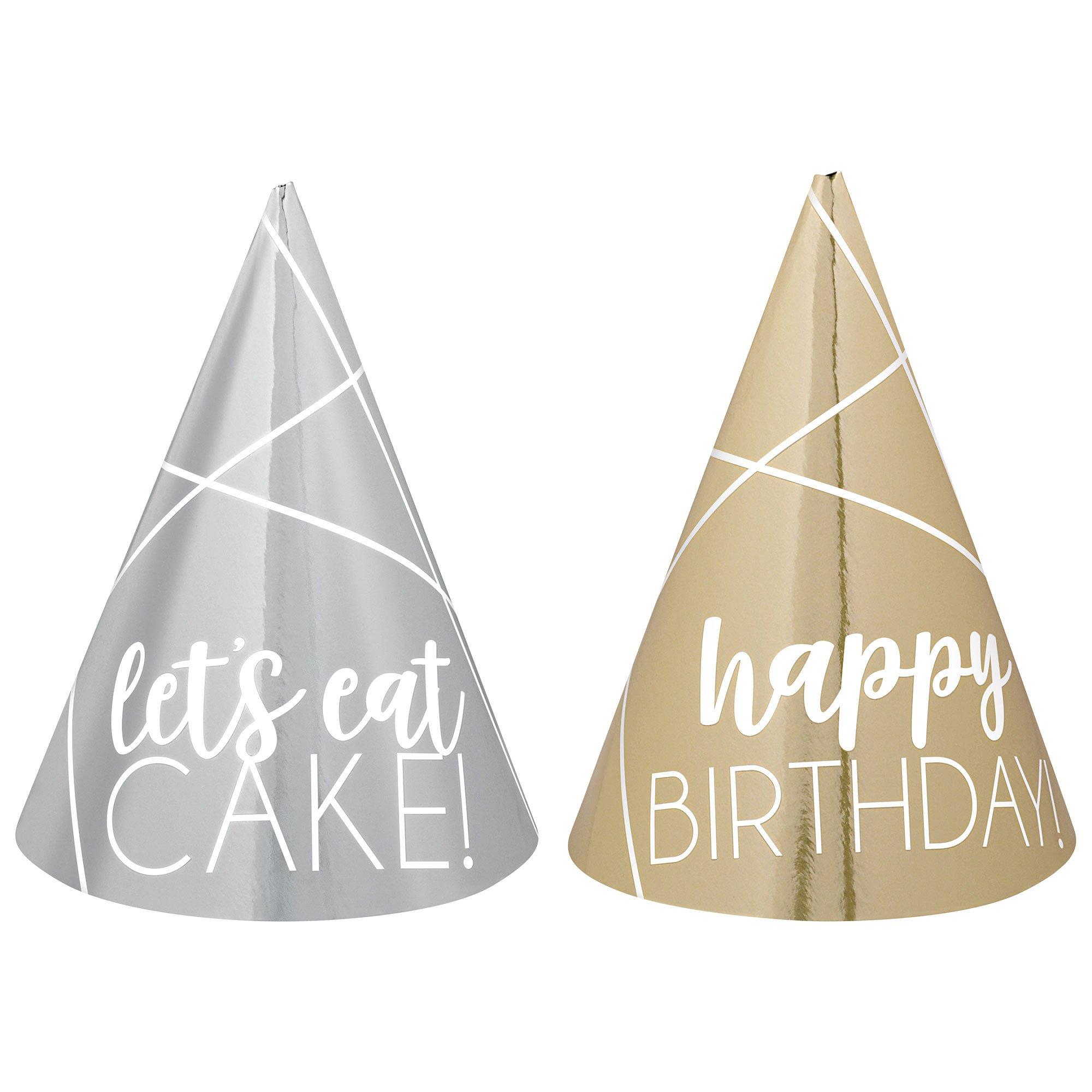 Party Mini Cone Hats Foil Silver & Gold