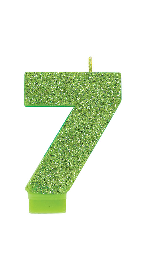 Candle Numeral Glitter #7 Kiwi