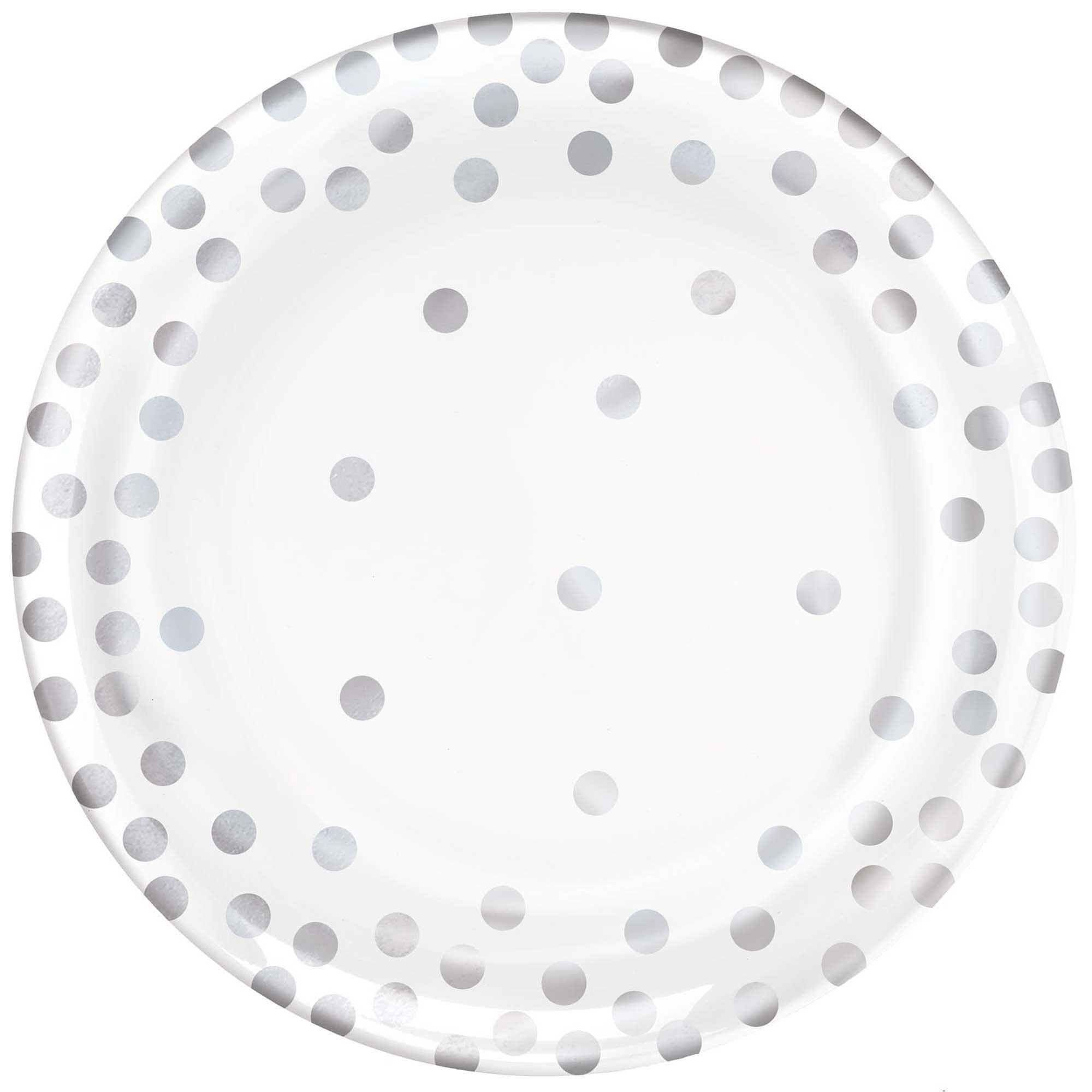 """Confetti Silver Dots 6""""/ 15cm Round Plates Hot Stamped Plastic"