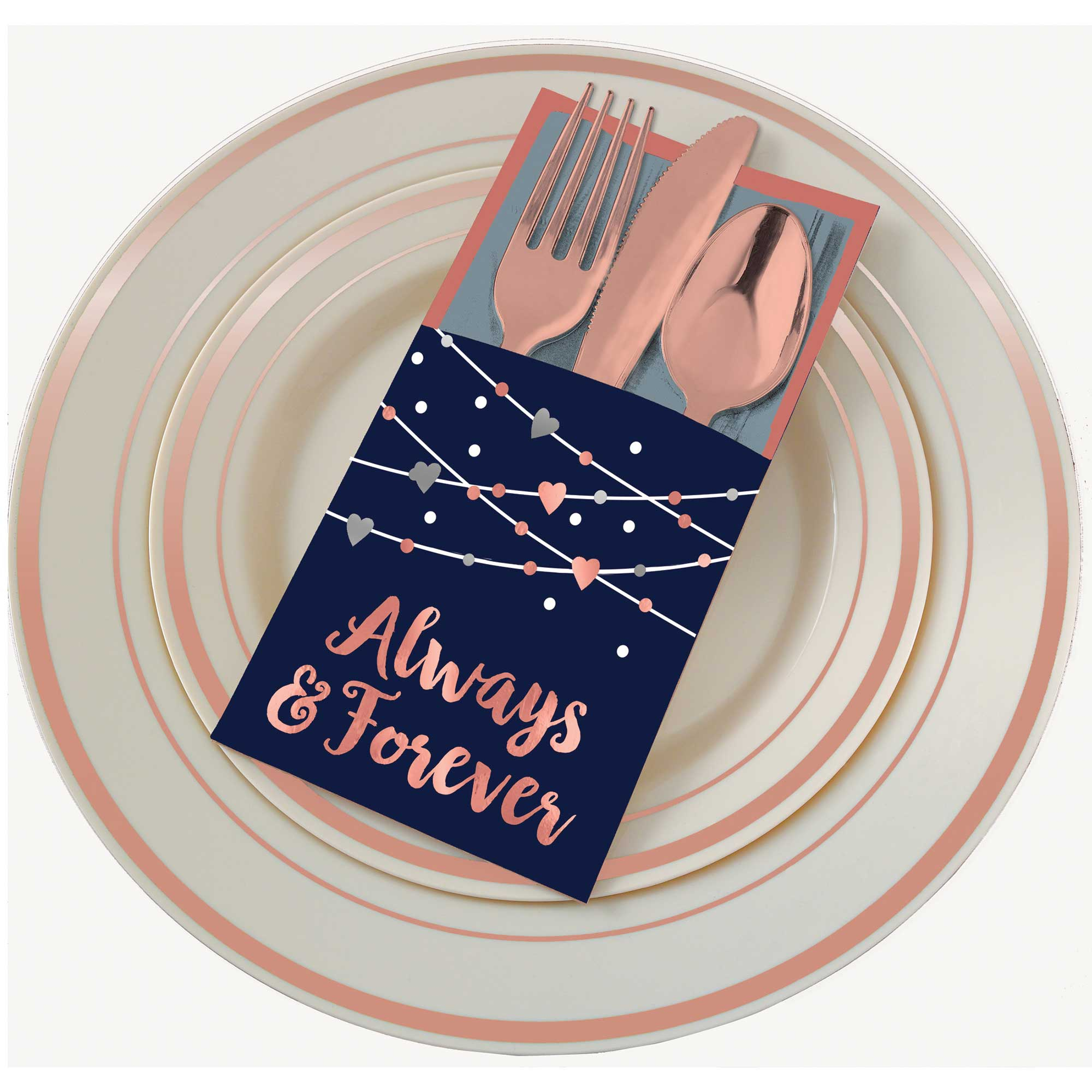 Navy Bride Cutlery Holders Always & Forever Hot Stamped