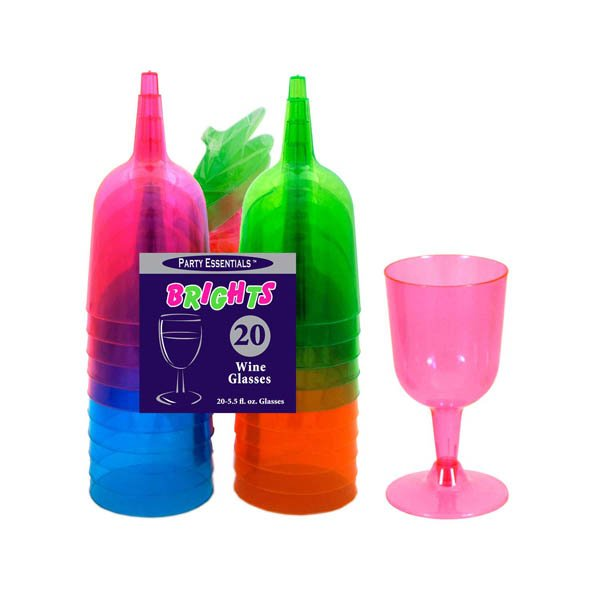 Wine Glasses Neon Assorted  Plastic