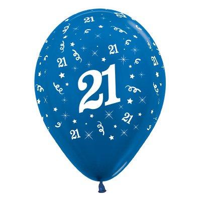 Sempertex 30cm Age 21 Metallic Blue Latex Balloons, 25PK