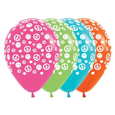 Sempertex 30cm Peace & Love Fashion Fuchsia, Lime Green, Caribbean Blue & Orange Latex Balloons, 25PK