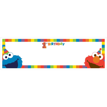 Elmo Turns One 1st Birthday Personalize It Giant Plastic Banner