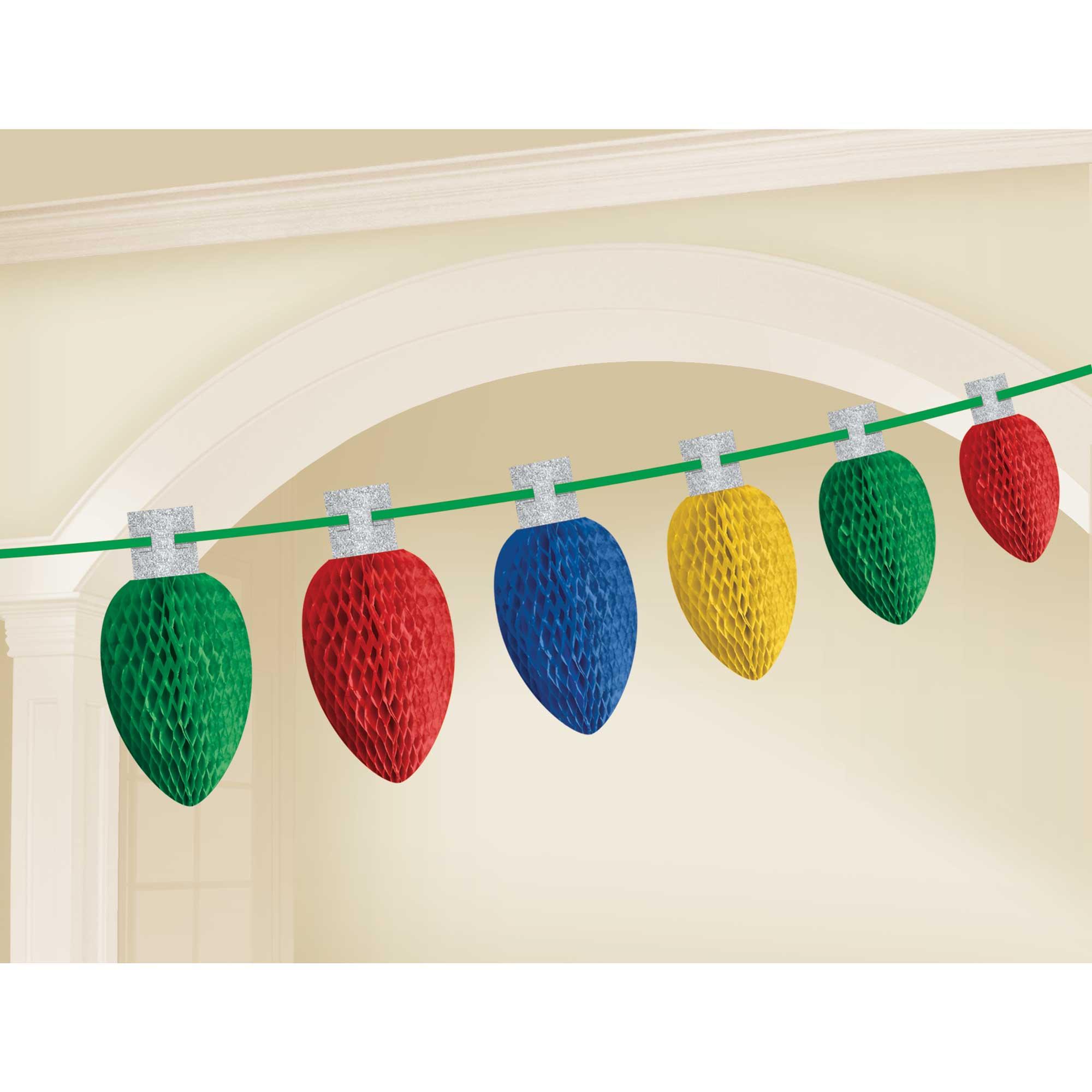 Christmas Lights Honeycomb Garland