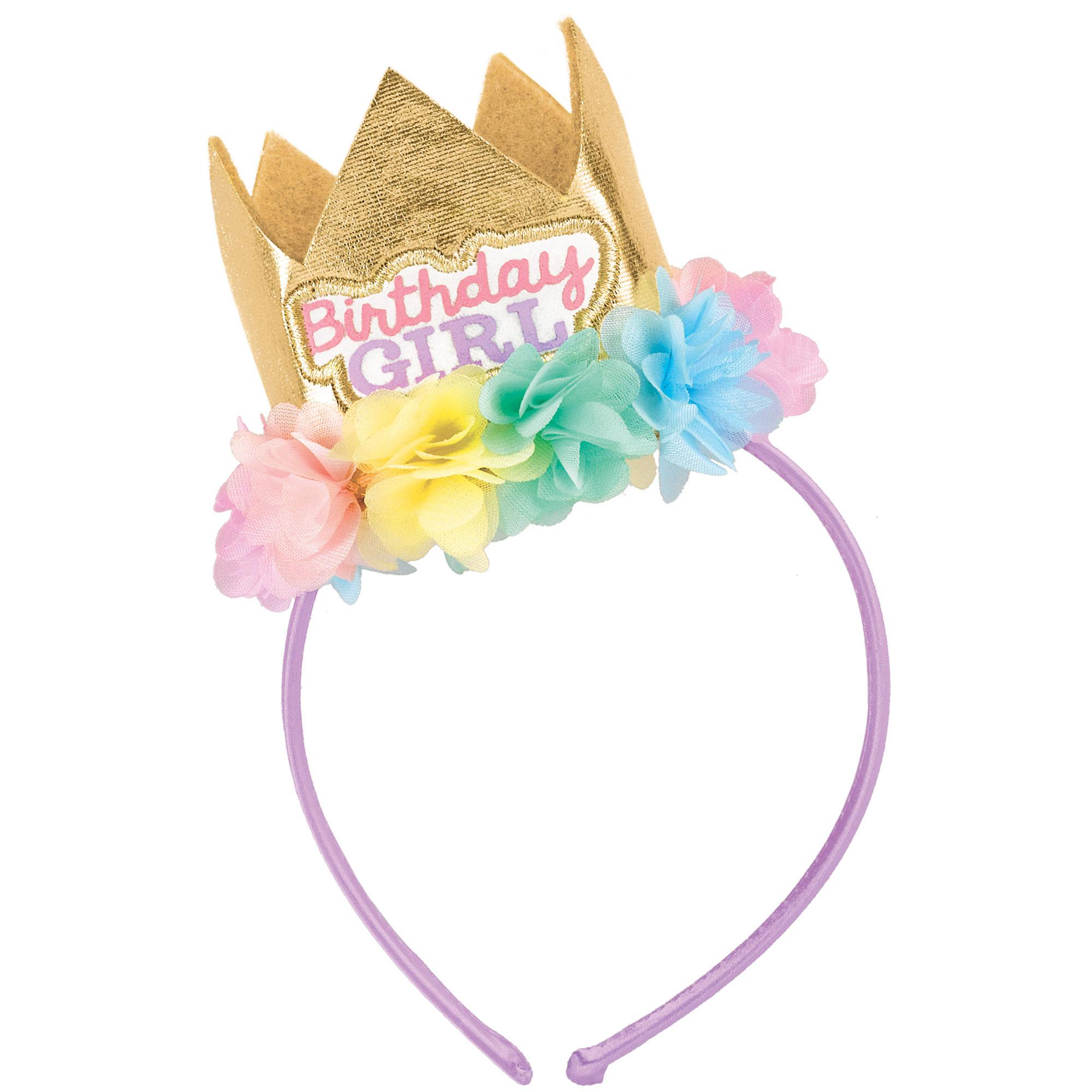 Birthday Girl Fabric Headband with Crown