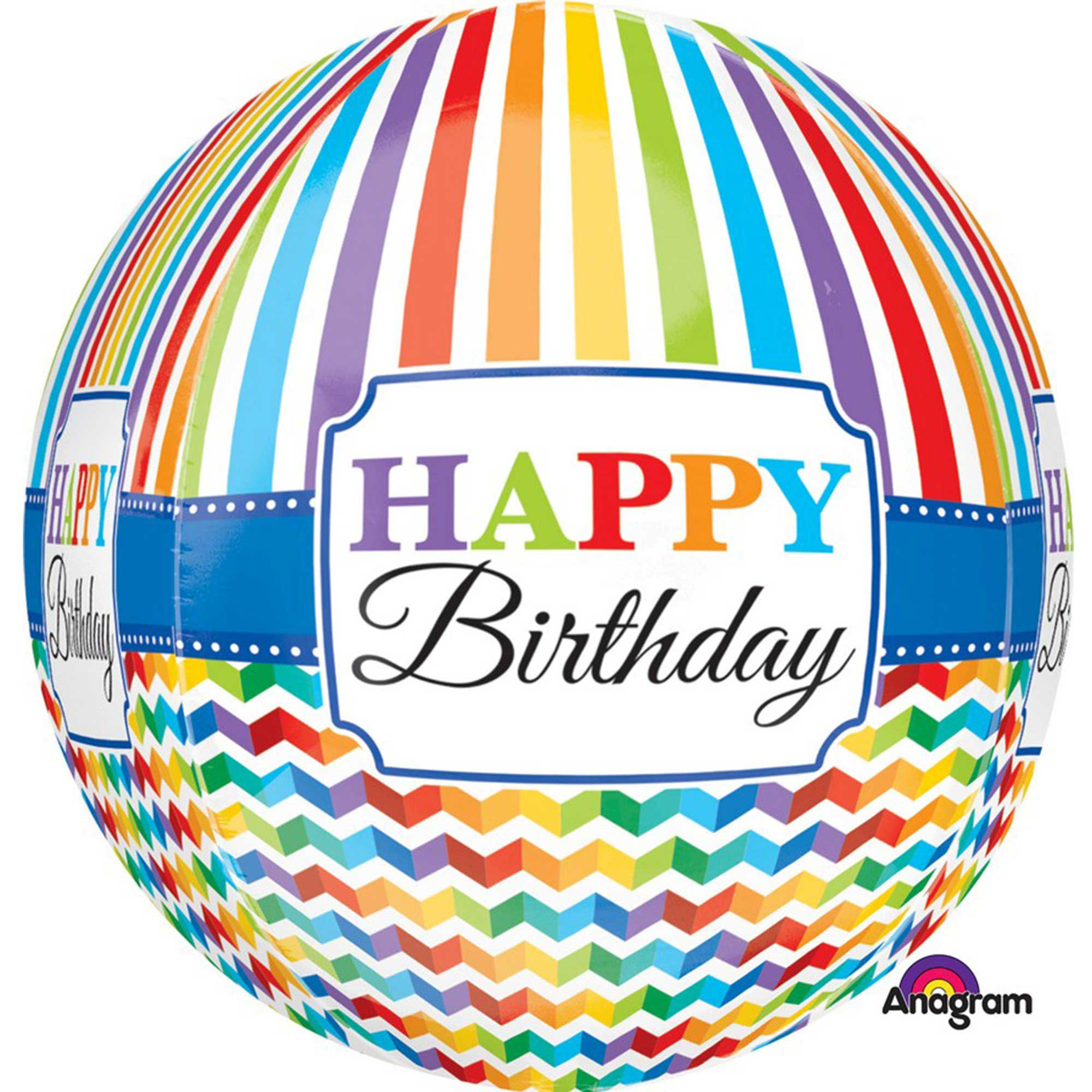 Orbz XL Happy Birthday Bright Stripe & Chevron G20