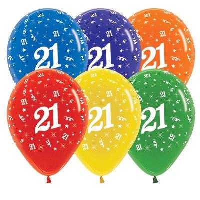 Sempertex 30cm Age 21 Crystal Assorted Latex Balloons, 25PK