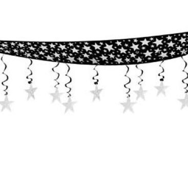 The Stars Are Out Black & Silver Ceiling Decor Hanging Decoration