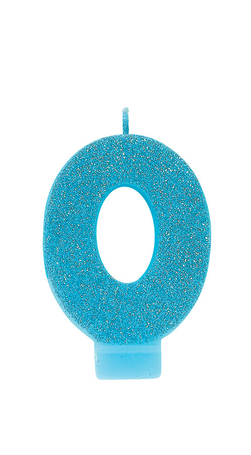 Candle Numeral Glitter #0 Caribbean Blue