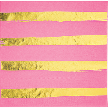 Touch of Colour Candy Pink & Gold Foil Striped Lunch Napkins