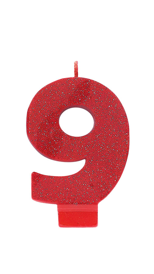 Candle Numeral Glitter #9 Red