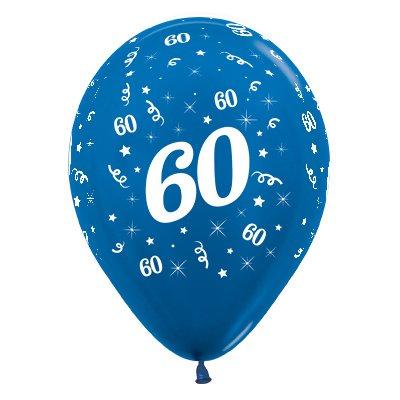 Sempertex 30cm Age 60 Metallic Blue Latex Balloons, 25PK