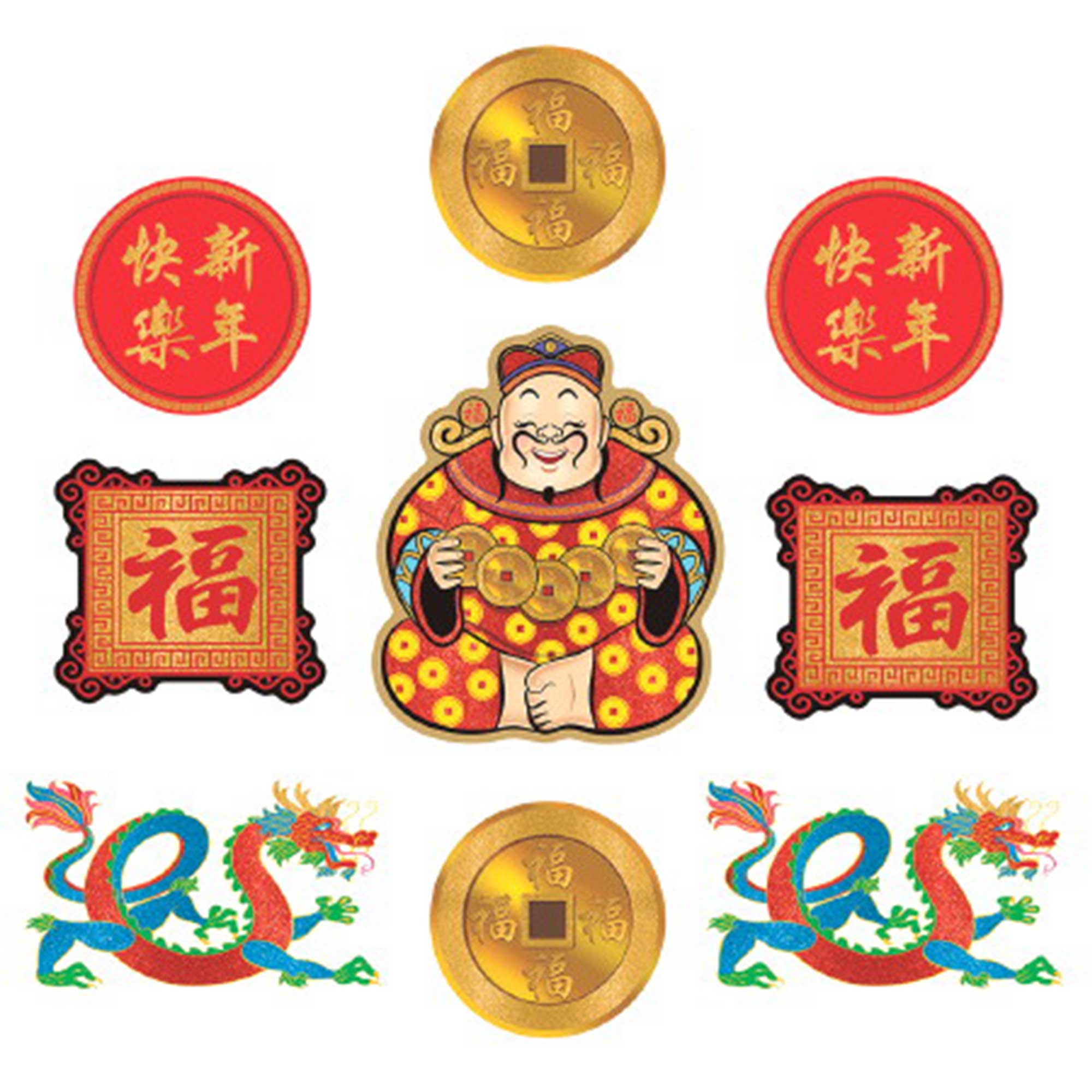 Chinese New Year Glitter Cardboard Cutouts