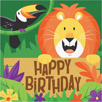 Jungle Safari Lunch Napkins Happy Birthday