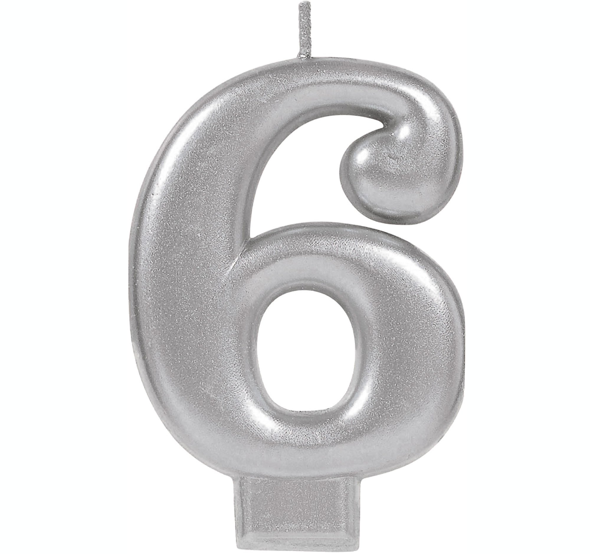 #6 Silver Metallic Numeral Moulded Candle