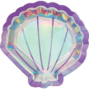 Mermaid Shine Iridescent Shaped Shell Dinner Plates 22cm