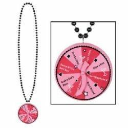 Bachelorette Beaded Spinner Medallion Necklace
