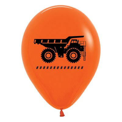 Sempertex 30cm Construction Trucks Fashion Orange Latex Balloons, 25PK