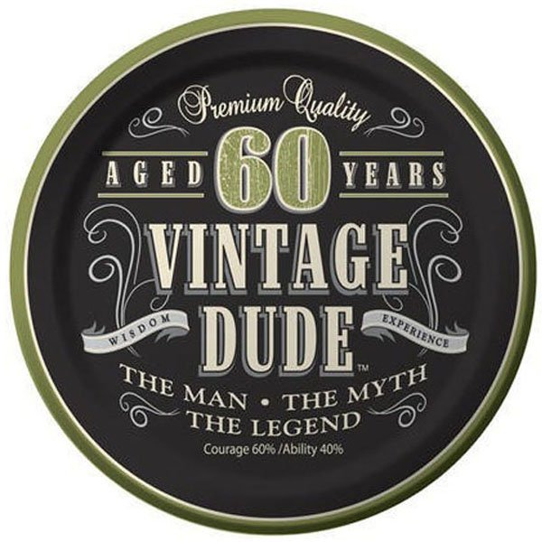 Vintage Dude 60th Birthday Lunch Plates Paper 18cm