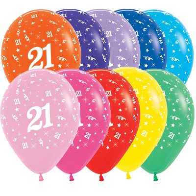 Sempertex 30cm Age 21 Fashion Assorted Latex Balloons, 25PK