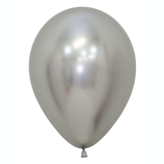 Sempertex 30cm Metallic Reflex Silver Latex Balloons 981, 50PK