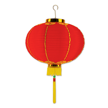 Asian Good Luck Medium Lantern Red & Gold with Tassels