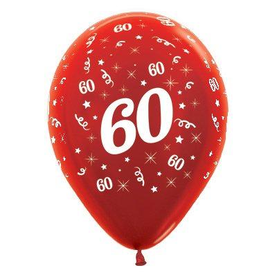 Sempertex 30cm Age 60 Metallic Red Latex Balloons, 25PK