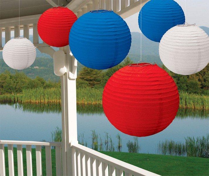 Patriotic Red, White & Blue Paper Lanterns