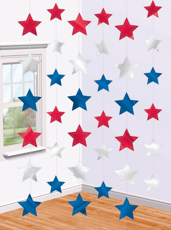 Patriotic Star Hanging String Decorations - Foil