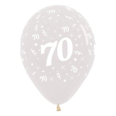 Sempertex 30cm Age 70 Crystal Clear Latex Balloons, 25PK