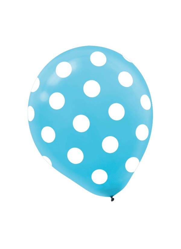 30cm Latex Balloon  Dots Caribbean Blue